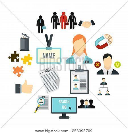 Flat Human Resource Icons Set. Universal Human Resource Icons To Use For Web And Mobile Ui, Set Of B