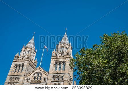 High Tower Of The Impressive Building Of The Natural History Museum In London, England