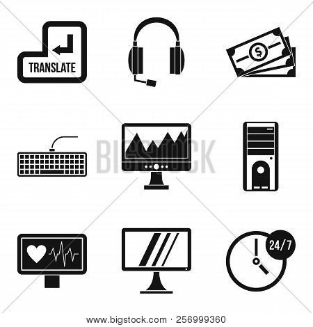 Wireless Application Icons Set. Simple Set Of 9 Wireless Application Icons For Web Isolated On White