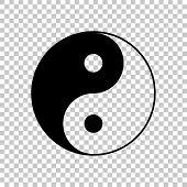 yin yan symbol. On transparent background. Black object poster