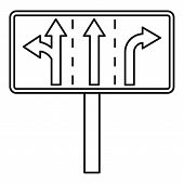 Traffic lanes at crossroads junction icon. Outline illustration of traffic lanes at crossroads junction icon for web poster