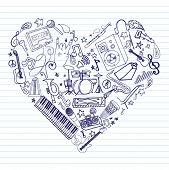 Variety of hand drawn music doodles in heart shape on lined paper. poster