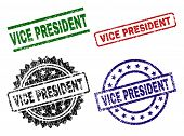 VICE PRESIDENT seal prints with corroded texture. Black, green, red, blue vector rubber prints of VICE PRESIDENT text with scratched style. Rubber seals with round, rectangle, medal shapes. poster