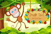 illustration of monkey jumping in jungle with floral sign board poster