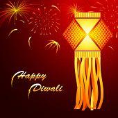 illustration of hanging lantern with firework in diwali night poster