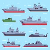 Flat military boats. Navy battle ships, sea combat security boat and battleship weapon. Naval warship vector collection poster