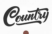 Country Music. Vector musical hand drawn lettering. Elegant modern handwritten calligraphy. Music ink illustration. Typography poster for cards, invitations, prints, promotions, posters, banners etc. poster