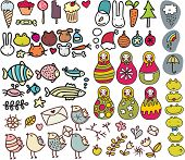 Mix of doodle images in vector: birds, animals, food. poster
