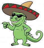 Cartoon Mexican iguana wearing shades ans sombrero. poster