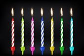 Vector 3d realistic different birthday party colofful wax paraffin burning cake candle icon set closeup on black background. Design template, clipart for graphics poster