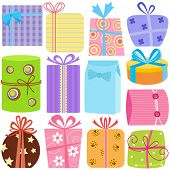 A set of simple and cute vector Icons : Gift Boxes (present), pastel color isolated on white poster