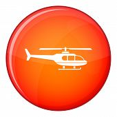 Military helicopter icon in red circle isolated on white background illustration poster