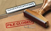 3D illustration of an investigation file with a rubber stamp and the word file closed. Concept of unsolved investigations poster