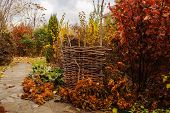 Walking in november garden. Late autumn view with rustic fence and stone pathway poster