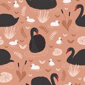 Seamless pattern with black swans and brood of cygnets floating in pond or lake among water lilies and reeds. Backdrop with flock of waterfowl. Flat colorful cartoon vector illustration for wallpaper. poster
