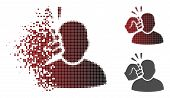 Crime violation fist strike icon in fractured, pixelated halftone and undamaged entire versions. Particles are composed into vector dispersed crime violation fist strike icon. poster