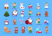 Winter characters. Cartoon santa, elves and winter christmas animals, snowman and kids. Winter christmas holiday vector set. Character christmas, santa and animal, xmas deer and gift illustration poster
