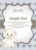 baby boy greeting card with teddy bear poster