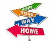 Find Your Way Home Back to Start Homecoming Arrow Signs 3d Illustration poster
