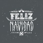 "Lettering poster ""Feliz Navidad"" (""Merry Christmas"", spanish) in scandinavian style. poster"
