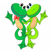 couple of cute frogs in love.vector illustration.isolated character poster