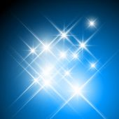 Vector glittering stars on dark blue background poster