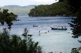 Sea Coast Landscape And Boats In Pulau Weh Island, Sumatra, Indonesia