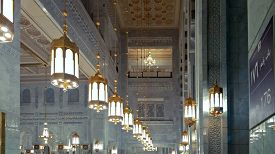 MECCA / SAUDI ARABIA-SEPTEMBER 24, 2016: Interiors of Al-Haram mosque in Mecca, the largest mosque in the world