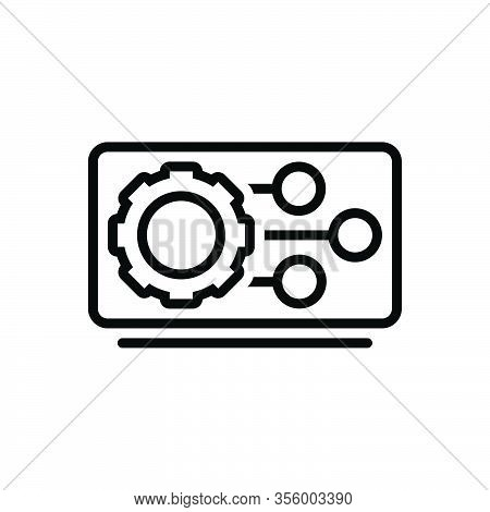 Black Line Icon For Feature Featuring Characteristic Specialty Trait Machine Gadget Setting Gear