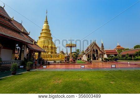 Lumphun, Thailand, 21,feb,2020 : Landscape View Of Wat Phra That Hariphunchai, Lumphun Under Bright