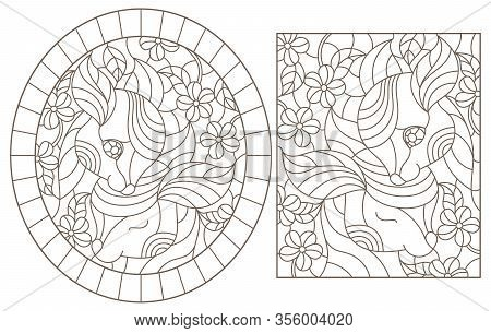 Set Of Contour Illustrations Of Stained Glass Windows With Fawns And Flowers, Dark Outlines On A Whi