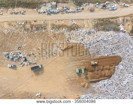 Waste Disposal Pile Of Plastic Garbage And Various Trash Aerial View By Drone.recycling And Disposal