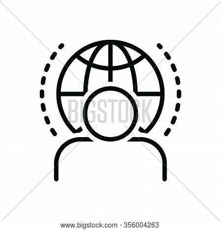 Black Line Icon For Visitor Guest Tourist Traveler Vacationer Pilgrim Clients Male Paying-guest