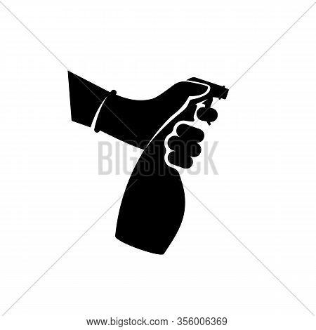 Black Icon Antiseptic Spray. Pictogram Hands In Gloves Hold Bottle. Antibacterial Flask Kills Bacter