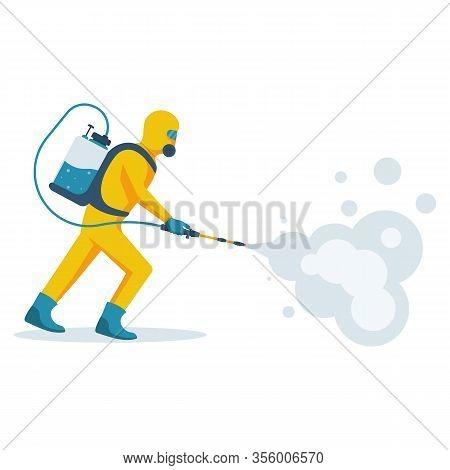Disinfection Concept. Man In Yellow Protective Hazmat Suit. Prevention Coronavirus. Vector Illustrat