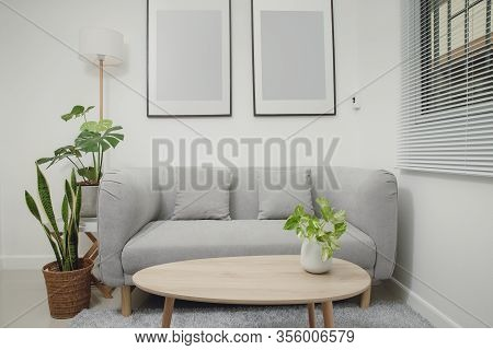 Living Room Minimalist Style. Modern Interior Of Living Room With White Sofa