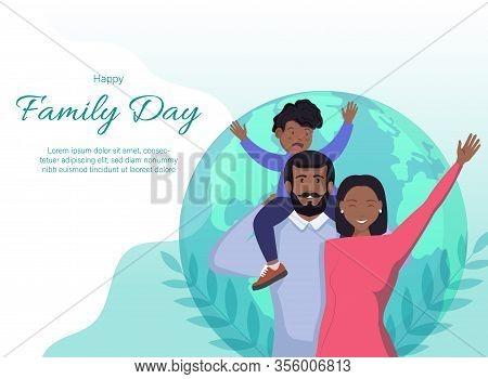 Happy International Family Day. Family Day. Family Day background. Family Day poster. Family Day illustration. Family Day banners. Family day Vectors. Family Day Vector Illustration. International Family Day template. Happy African American family of thre