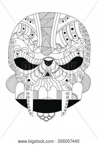 Alien Skull Style Zentangle On White Background