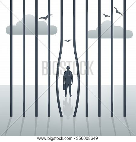 Freedom Concept. The Prisoner Left The Prison. Bending Metal Bars. Break Free. Silhouette Of A Man,