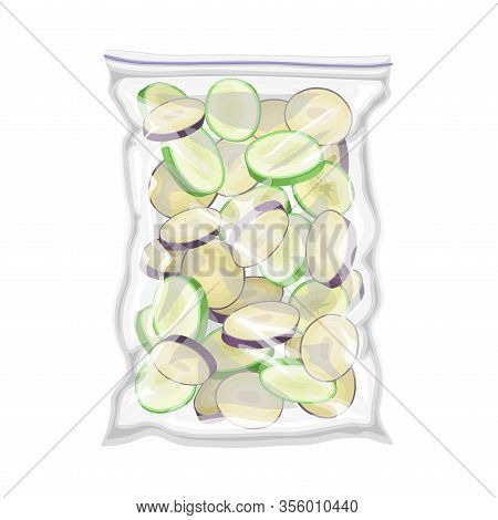 Frozen Chopped Mixed Vegetables Stored In Plastic Package Vector Illustration