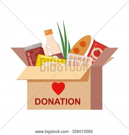 Box Donation With Food Charity. Canned, Bread, Drinks. With Text Banner Donate. Cartoon Vector Illus