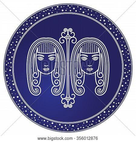 Gemini Astrological Sign Of Two Twin Girls. Astrology And Horoscope, Zodiac Symbol Of Mythological C