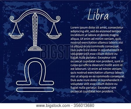 Libra Zodiac Sign Of Horoscope. Balance Scales Symbol Of Astrological Element For People Born In Sep
