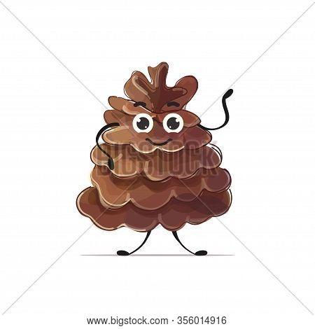 Cute Cedar Cone Character Cartoon Mascot Personage Healthy Vegetarian Food Concept Isolated Vector I
