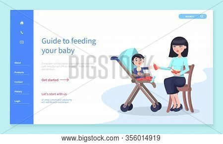 Online Guide To Feeding Your Baby. Mother Give Bottle With Drink And Feed Her Son From Spoon. Kid Si
