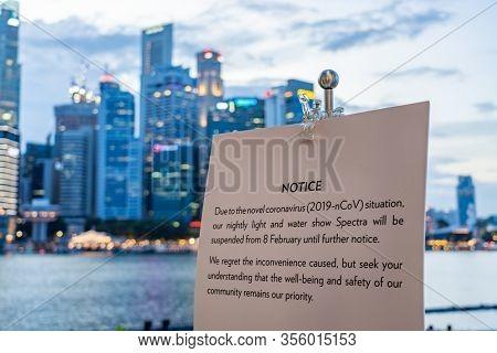 Singapore - February 13 2020: Singapore Marina bay sands Light and water show spectra canceled due to Coronavirus
