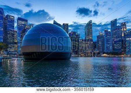 Singapore, Singapore - FEBRUARY 13, 2020: New Singapore Apple Store orb floating