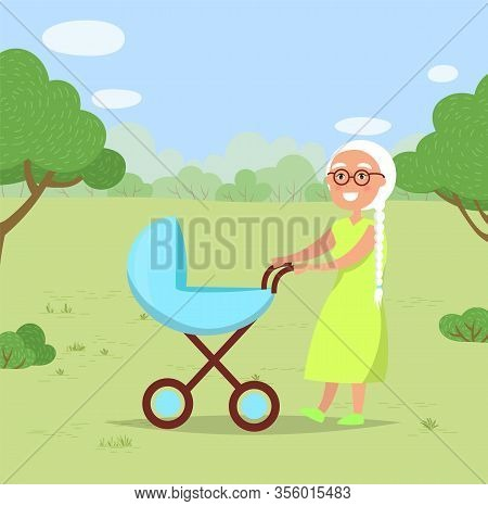 Grandmother With Grandchild In Baby Buggy In Park Or Forest Have Walk. Blue Pram With Plastic Wheels