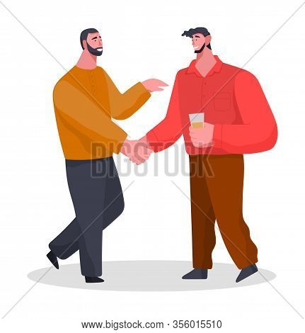 Friends Spending Time Together On Home Reception. Banquet Or Meeting With Drinks. Two Men Greet Each