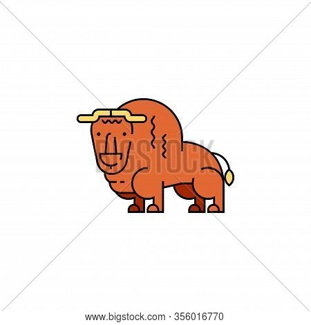 Buffalo. Alaska S Animal. Vector Flat Linear Illustration.